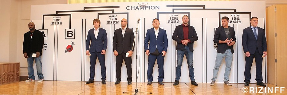 The tournament brackets and first stage matchups for the RIZIN FF World Grand Prix 2015, heavyweight single-elimination event that will take place over the course of two days - December 29 and December 31 - were announced during a press conference in Tokyo, Japan today.