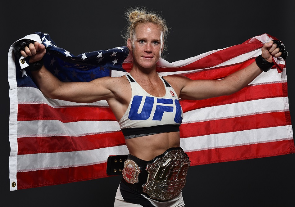 MELBOURNE, AUSTRALIA - NOVEMBER 15: UFC women's bantamweight champion Holly Holm poses backstage for a post-fight portrait after the UFC 193 event at Etihad Stadium on November 15, 2015 in Melbourne, Australia. Holly Holm defeated Ronda Rousey by KO in second round. (Photo by Mike Roach/Zuffa LLC/Zuffa LLC via Getty Images)