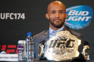 VANCOUVER, BC - APRIL 22: UFC Flyweight Champion Demetrious Johnson smiles during a press conference for UFC 174, April 22, 2014 at Rogers Arena in Vancouver, British Columbia, Canada. (Photo by Rich Lam/Zuffa LLC/Zuffa LLC via Getty Images)