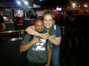 "Marlene Meloni with professional mixed martial artist, Desmond ""M80"" Moore"