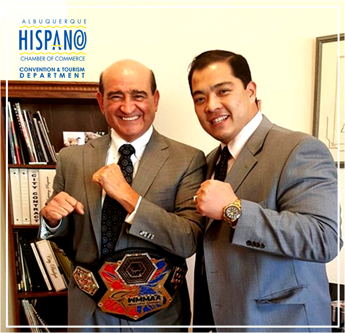 (L-R) - The Albuquerque Hispano Chamber of Commerce Alex Romero and WMMAA Pan-American Division President Tomas Yu