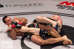 Vinny Magalhaes applies a kneebar to Matt Hamill at WSOF 24.