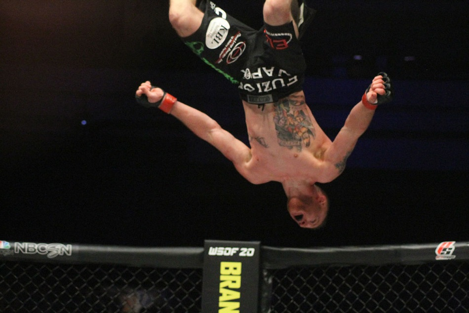 Justin Gaethje does a celebratory backflip