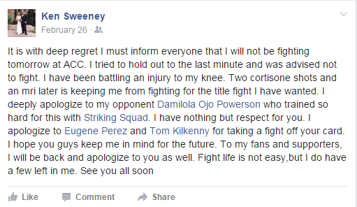 Ken Sweeney's Facebook post
