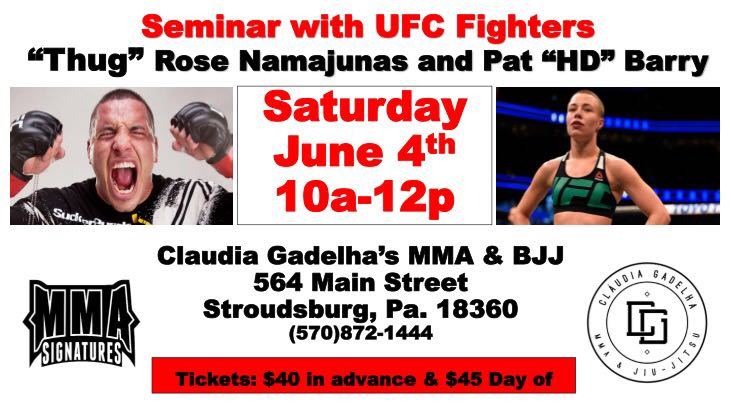 Rose Namajunas and Pat Barry seminar in Stroudsburg